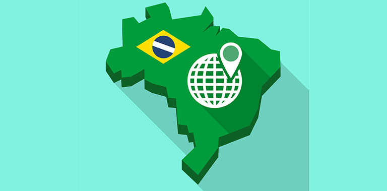 Illustration of a Long shadow map of Brazil, its flag and a world globe